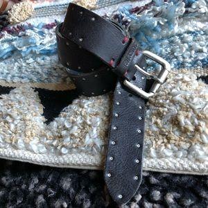 Lucky Brand black studded leather belt size xs